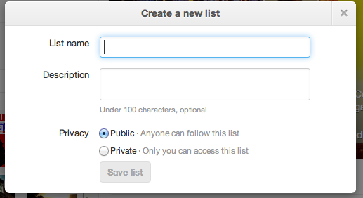 Create and name a list on Twitter social media