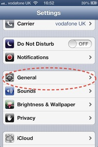 Screen shot, Apple iPhone 4s, General setting, circled in red broken line