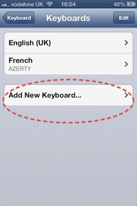 Screen shot, Apple iPhone 4s, Add New Keyboard setting, circled in red broken line