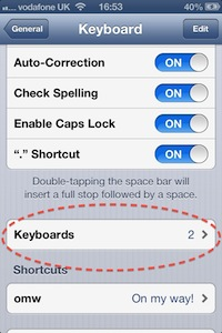 Screen shot, Apple iPhone 4s, Keyboards setting, circled in red broken line