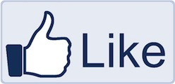 Facebook logo, blue background, white thumbs-up, Like